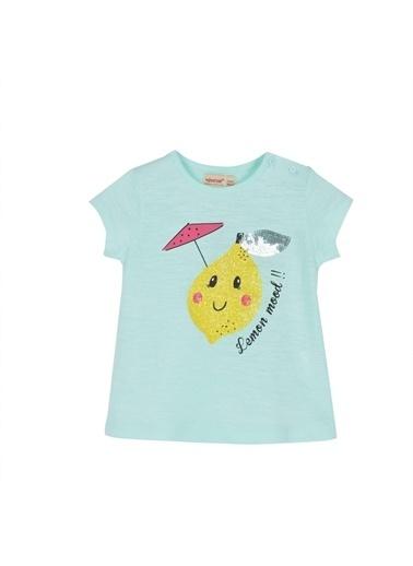 Silversun Kids Kız Bebek Baskılı Omuzdan Düğmeli Kısa Kollu Tişört Bk 115959 Yeşil